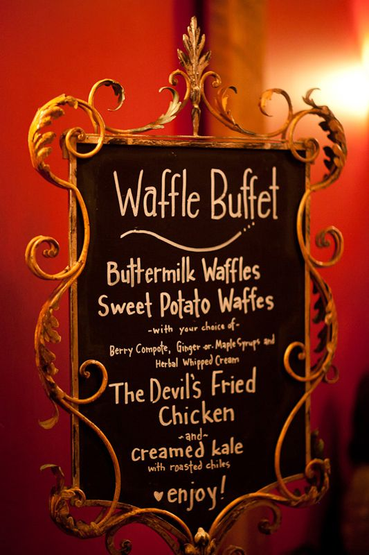 50 Unique Wedding Ideas You Definitely Haven't Seen Before  1)Waffle Buffet Your friends have: An omelette station for their wedding bunch celebration. We prefer: A sweet and savory waffle buffet, complete with fried chicken.