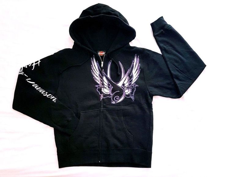 """HARLEY DAVIDSON Zip Up HOODIE SWEATER. BLACK Colour Main, With""""Harley Davidson"""" Script & EAGLE(S) Emblem Graphic Art Design. Design: Harley Davidson Silver Script Right Sleeve Length, With Eagle(s) Graphic Art Design Front & Back.   eBay!"""