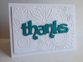 Just a quick post...    Used a cool embossing folder I bought at AC Moores a couple months ago...thought it was so pretty and perfect with...