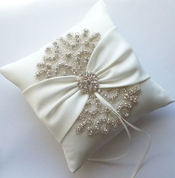 Wedding Ring Pillow with Rhinestone Detail, Mini Wedding Ring Pillow, Ivory Satin Sash Cinched by Crystals - The ROSA Pillow
