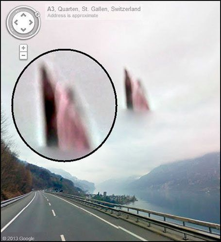Another pinner pined this... interesting.     Google Earth Heavenly Apparitions: Google Street Maps has captured all kinds of weird things, but this image taken on A5 highway near Walensee, Switzerland, contains images that some say looks like heavenly figures -- possible Jesus and Mary -- up there in the clouds.