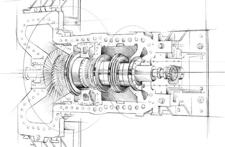 illustration design moteur Florence GendreFlorence Gendre  #illustration  #moteur #technique