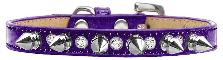 Crystal And Silver Spikes Dog Collar Ice Cream