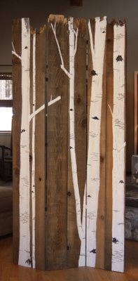 folding birch screen from rotting fence boards.