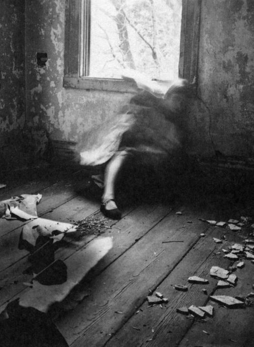 Francesca Woodman - I really like how the artist has managed to create a macabre and ghostly atmosphere within their photograph by getting the sitter to move almost as if they are attempting to shield themselves from the daylight streaming through the open window. I also feel like the scene of destruction within the image, littered all over the floor, also adds to the idea of spirits and the macabre atmosphere.