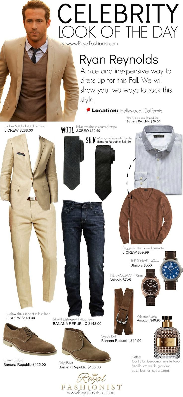 Celebrity Look of the Day: #RyanReynolds #Mensfashion Fall Outfit Idea