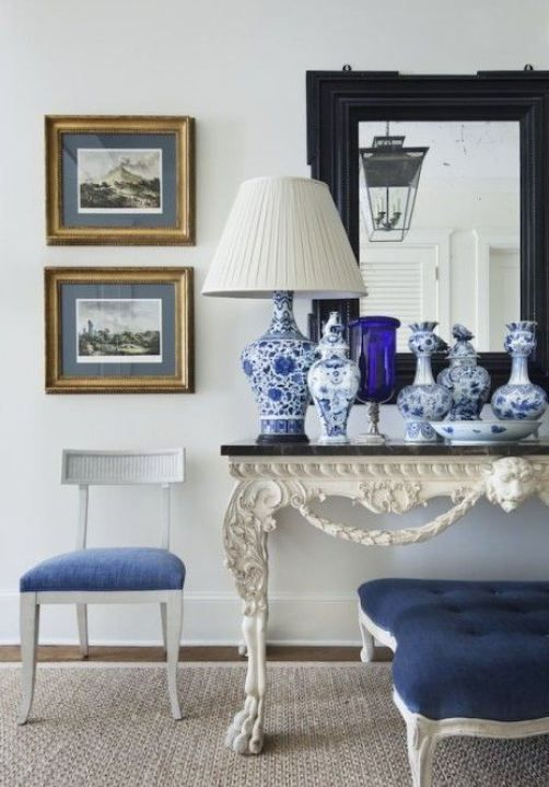 Pure, classic simplicity and clarity in this blue and white vignette by Alexa Hampton.