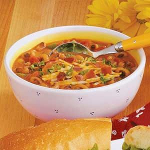 Black-eye pea soup. Take out the bacon - and this would be the perfect comfort food :)