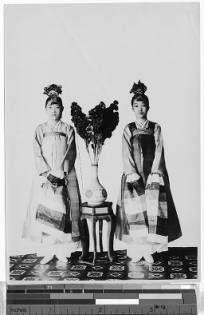 Two Korean dancers, Korea, ca. 1920-1940 :: International Mission Photography Archive, Maryknoll
