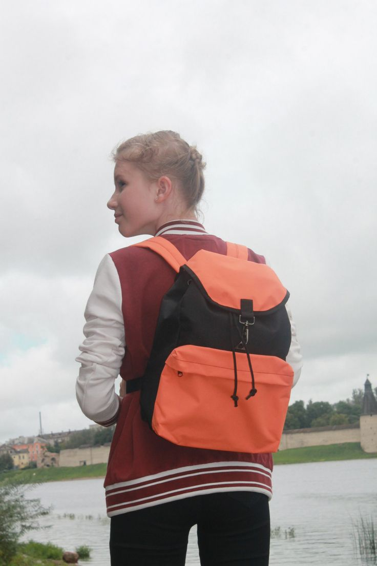 backpack the black ,Orange,backpack female,backpack teenager by Lightbackpacks on Etsy