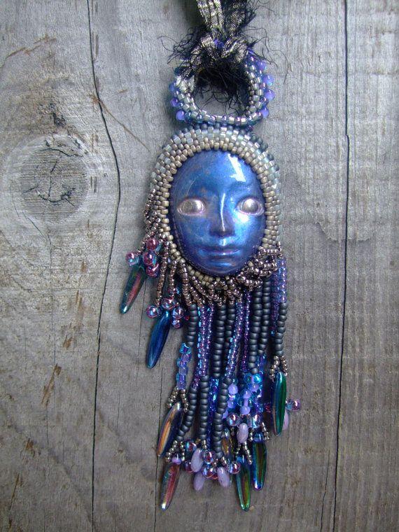 Starlight Goddess Pendant on Sari Silk Ribbon by PhantasmCreates, $150.00