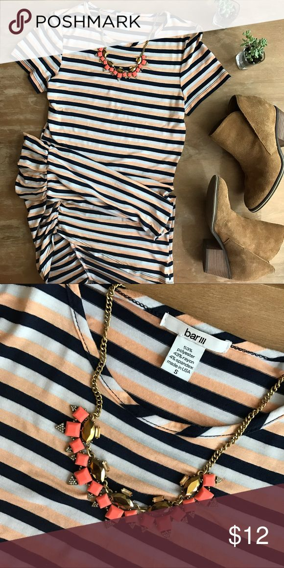 • Bar III Striped Dress • Bar III striped dress with rucking down one side. Stripes are orange, white, and navy! In great condition! Size small. Bar III Dresses Mini