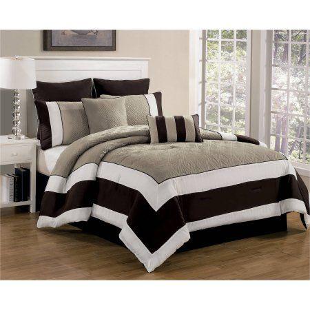Duck River Textiles Spain Hotel Online Queen 8-Piece Quilted Oversize Overfilled Comforter Set, Brown