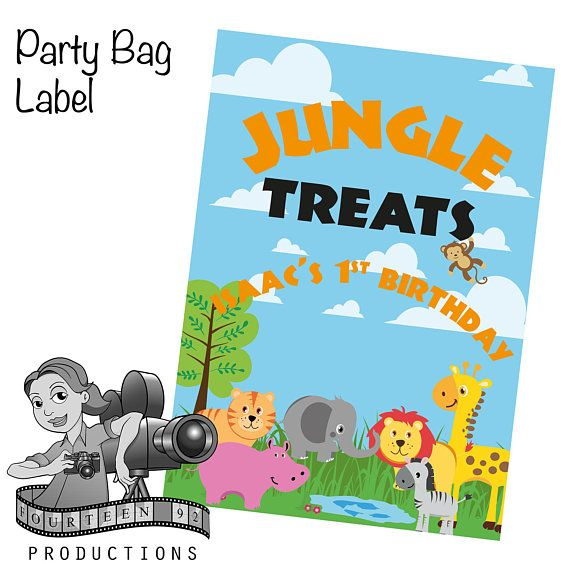 Jungle Animal Party Bag Labels