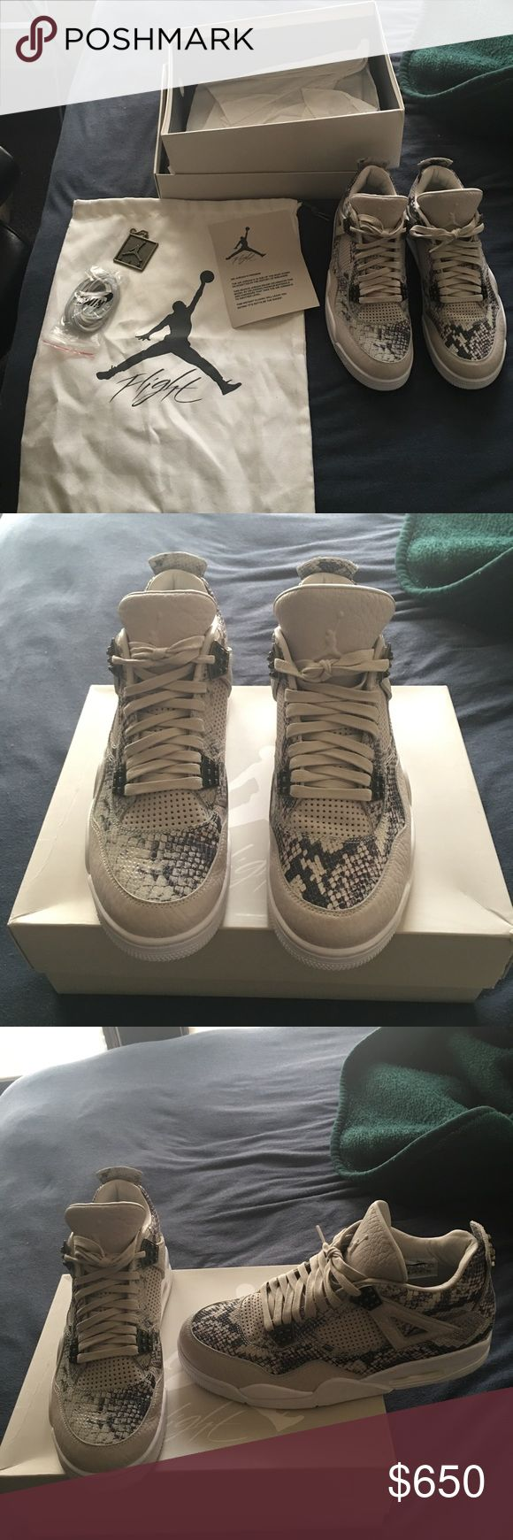 Air Jordan retro 4 snakeskin size 10.5 Worn 1 time other than that perfect condition. Comes with original everything. Size 10.5 Jordan Shoes Sneakers