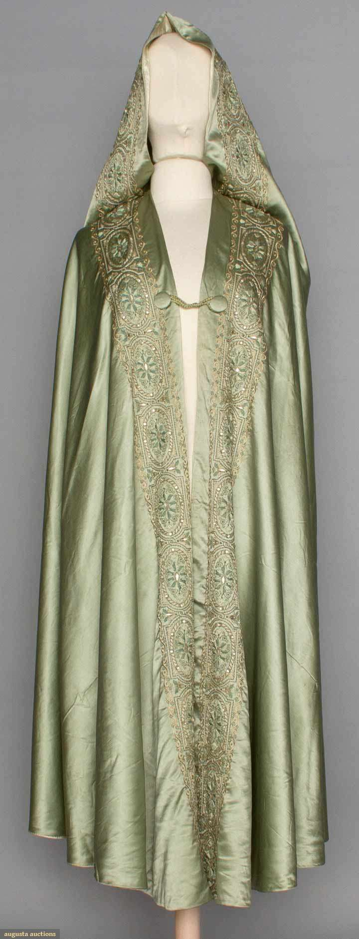 EMBROIDERED LIBERTY BURNOOSE, c. 1910. Doesn't this give you some beautiful ideas for a cape? Love the simple closure.