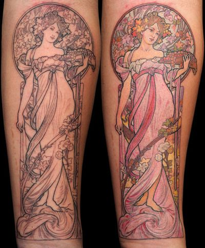 art nouveau tattoo    Mucha outline and color | Anil Gupta