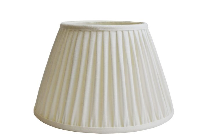 Ivory linen gathered pleat on a Straight empire lampshade