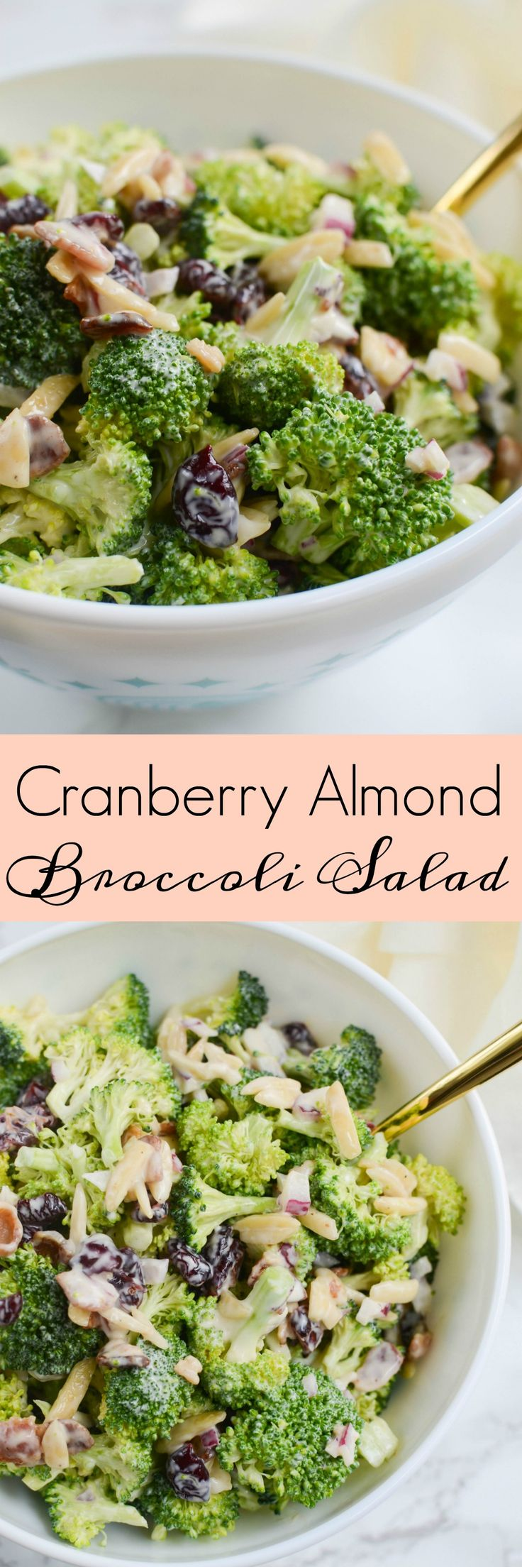 Cranberry Almond Broccoli Salad - a lightened up version of the classic!