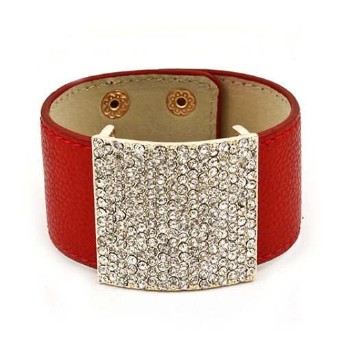 Red Leather Square Crystal Stone Bracelet
