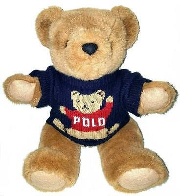 "Rare Ralph Lauren Polo Teddy Bear Sweater Jointed Plush 15"" Stuffed Animal 1997"