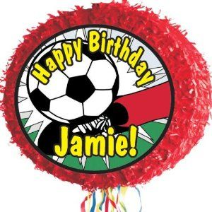 "Soccer Ball Pinata Personalized by Personalized Pinatas. $18.99. -Personalized Piñatas are 17"" round drum, pull-string piñatas decorated with fringed trim. They ship flat, and then expand to 3"" to hold up to two pounds of candy or trinkets to go with your party theme.. -Your piñata will be personalized just for your special occasion! Use the gift message box to add your desired text to your order. (Be sure to check the spelling!). -You can include up to 30 characters of text ..."