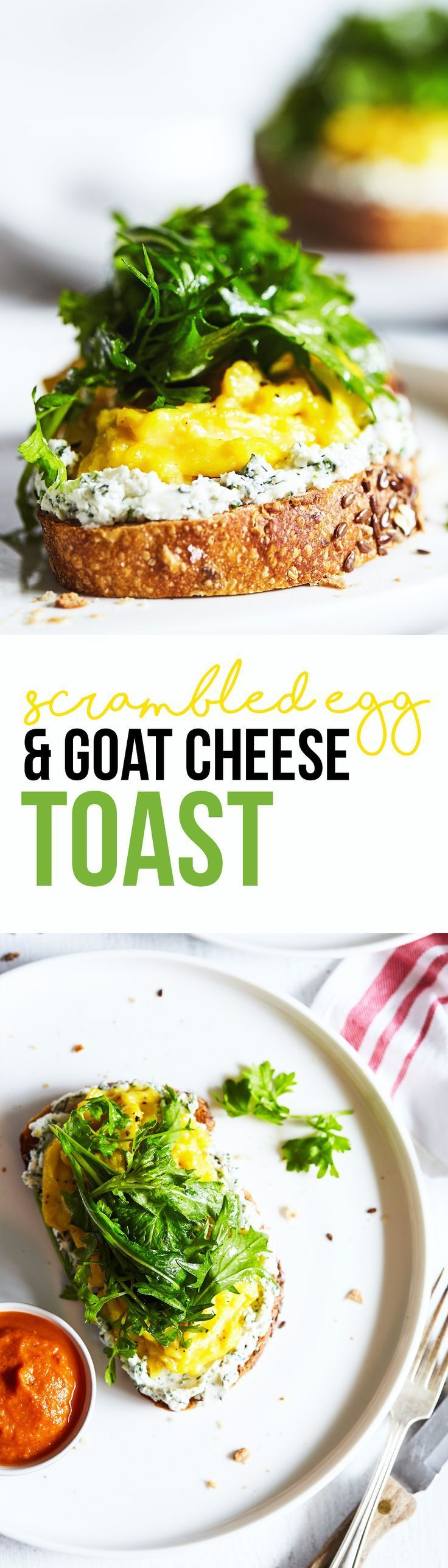 Soft, custardy scrambled eggs set atop toasted bread and an addictive herbed goat cheese. A simple, yet stunning dish that's super delicious! Gluten Free option.