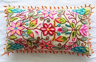Pillow cushion covers Hand embroidered flowers Sheep & alpaca wool 16 x 16 handmade Set of 2 Cream by khuskuy on Etsy Hand Embroidery Flowers, Hand Embroidery Designs, Mexican Embroidery, Fabric Embellishment, Embroidered Cushions, Quilted Pillow, Recycled Fabric, Cross Stitch Embroidery, Throw Pillows