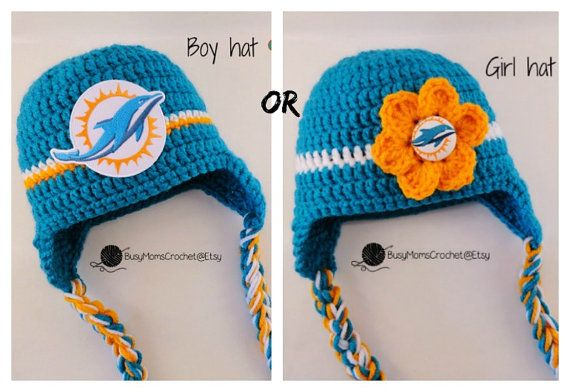 Handmade baby crochet Miami Dolphins inspired by BusyMomsCrochet