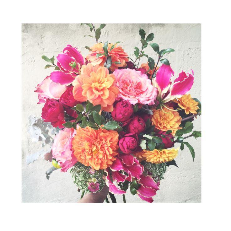   wild&romantic    autumnal bouquet- cluster roses- free spirit roses- gloriosa lillies- queen anne's lace- dahlias