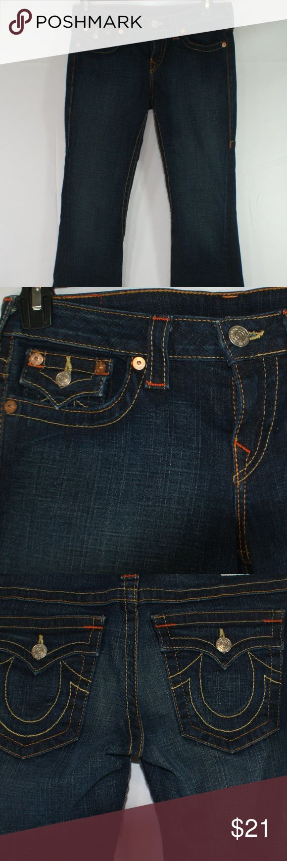 TRUE RELIGION WOMEN'S JEANS SIZE 30 TRUE RELIGION JEAN'S WORLD TOUR JOEY  SIZE 30  LIKE NEW, SLIGHT FLARE, TWISTED SEAM  NO RIPS OR TEARS  COIN POCKET AND BACK POCKETS WITH BUTTON CLOSURE   WAIST MEASURES 34 INCHES RISE IS 71/2 INCHES INSEAM IS 34 INCHES  Please measure a pair of your own to be sure of fit,  we do not accept returns TRUE  RELIGION Jeans Flare & Wide Leg