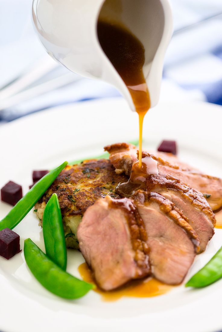 Duck breast with potato rosti and sugarsnap beans by Clare Fenwick Hyde of Malvern Supper Club