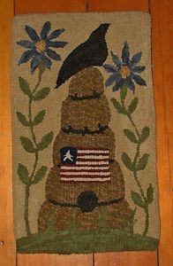 primitive hooked rugs | Primitive Hooked Rug Hooking Kit Beehive in The Flowers | eBay