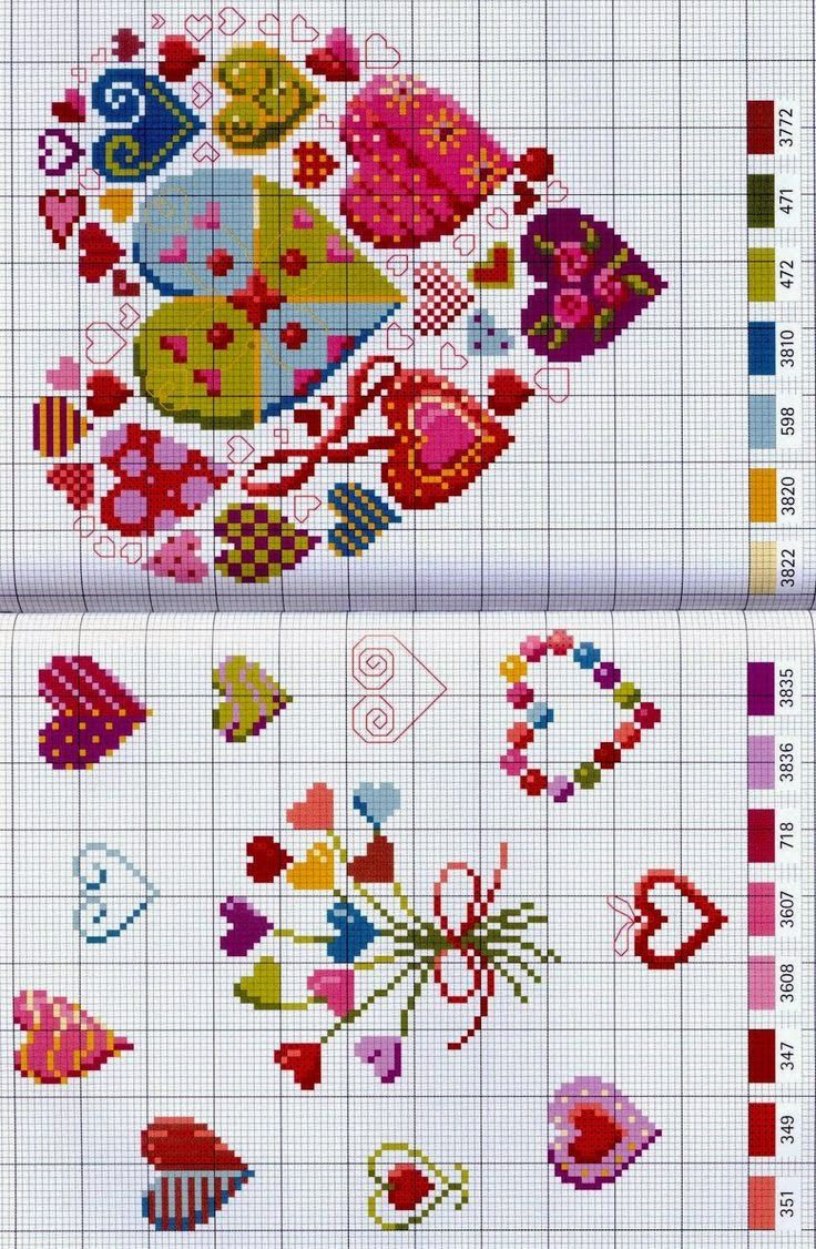 Corações coloridos românticos gráficos ponto cruz