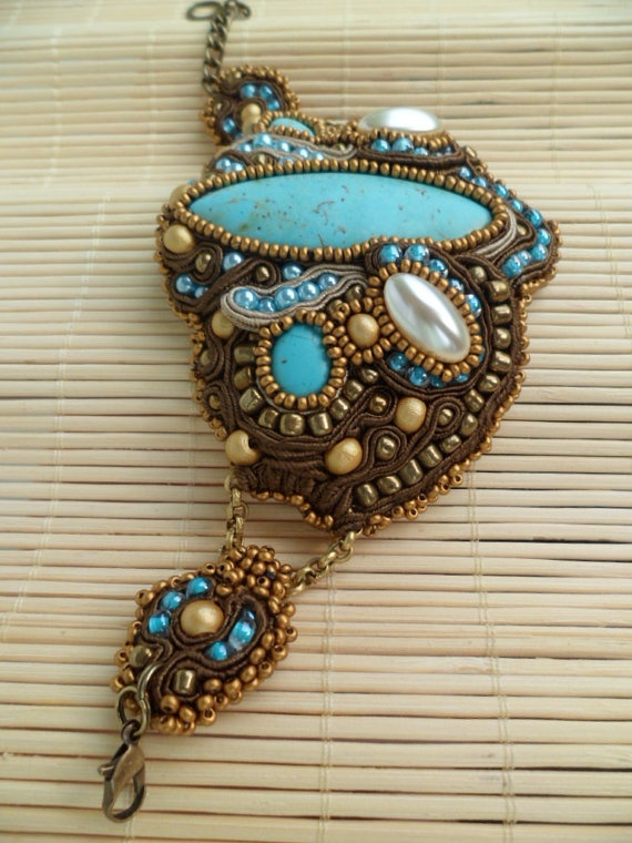 Marrakech Handmade soutache bracelet Turquoise by SoutacheShop