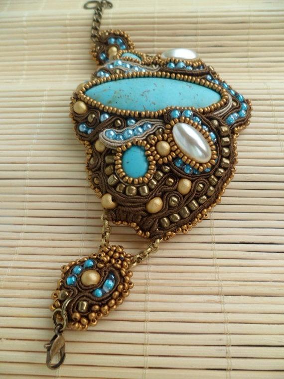 Marrakech Handmade soutache bracelet Turquoise by SoutacheShop