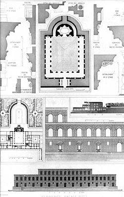 El Palacio Pitti es en la actualidad el complejo museístico más grande de Florencia. Ilustradas personalidades como Giorgio Vasari mantuvieron que Brunelleschi fue el verdadero arquitecto del palacio y que su aprendiz Luca Fancelli realizó simplemente la tarea de ayudante. Actualmente, se atribuye el diseño del palacio a Fancelli.