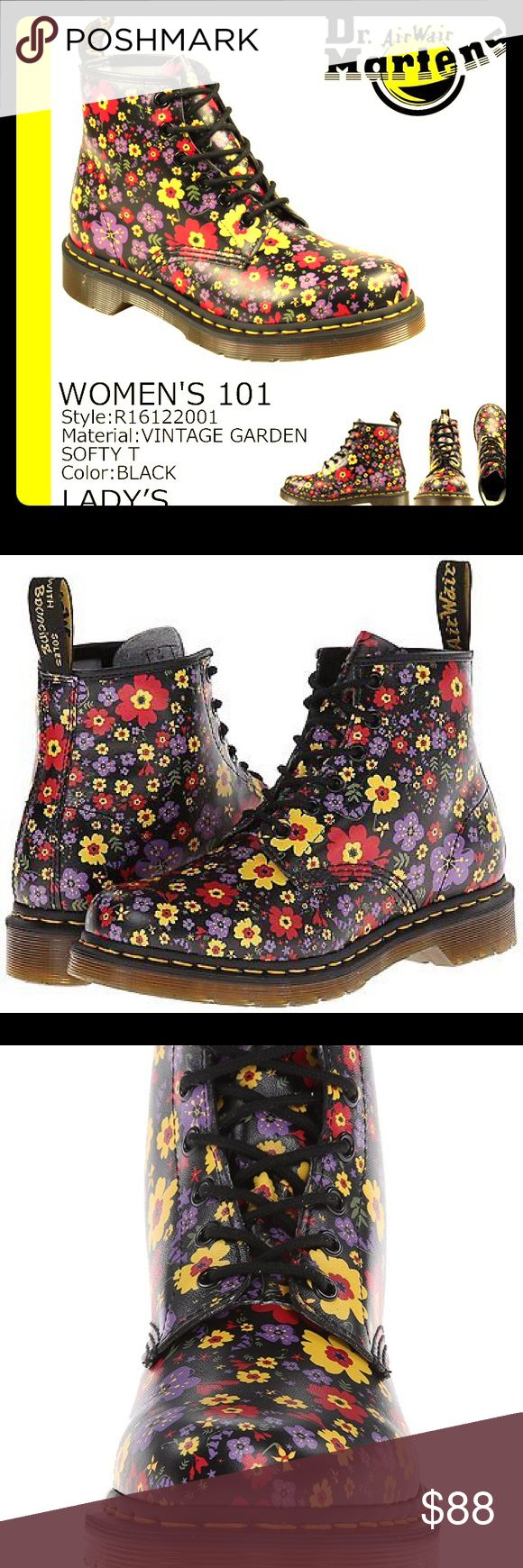 """New! Authentic DOC MARTEN Vintage Garden Boots Brand new, Women's Authentic Dr Marten's in bold & sassy Black Core Vintage Garden in size 10. EVERYONE needs their """"happy shoes"""", & these are absurdly fun, perfect amount of BohoEdge.AND functional all the while !! 😳....With genuine leather floral poppy print on upper, bold yellow stitching atop black rubber oil/acid/skid resistant sole. Air-Cushioned Outsole=Supernatural Comfort! Height ~1"""", Shaft ~6"""" (from arch) Boot Opening: 11"""",  Platform…"""