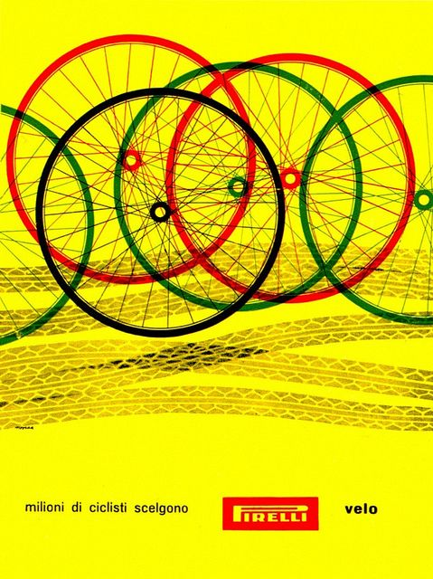 "Bob Noorda illustration: ""Millions of cyclists choose Pirelli tyres"". From Graphis Annual '59/'60."