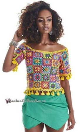 Patrón #1831: Blusa Colorida a Crochet | Chal | Croché ...