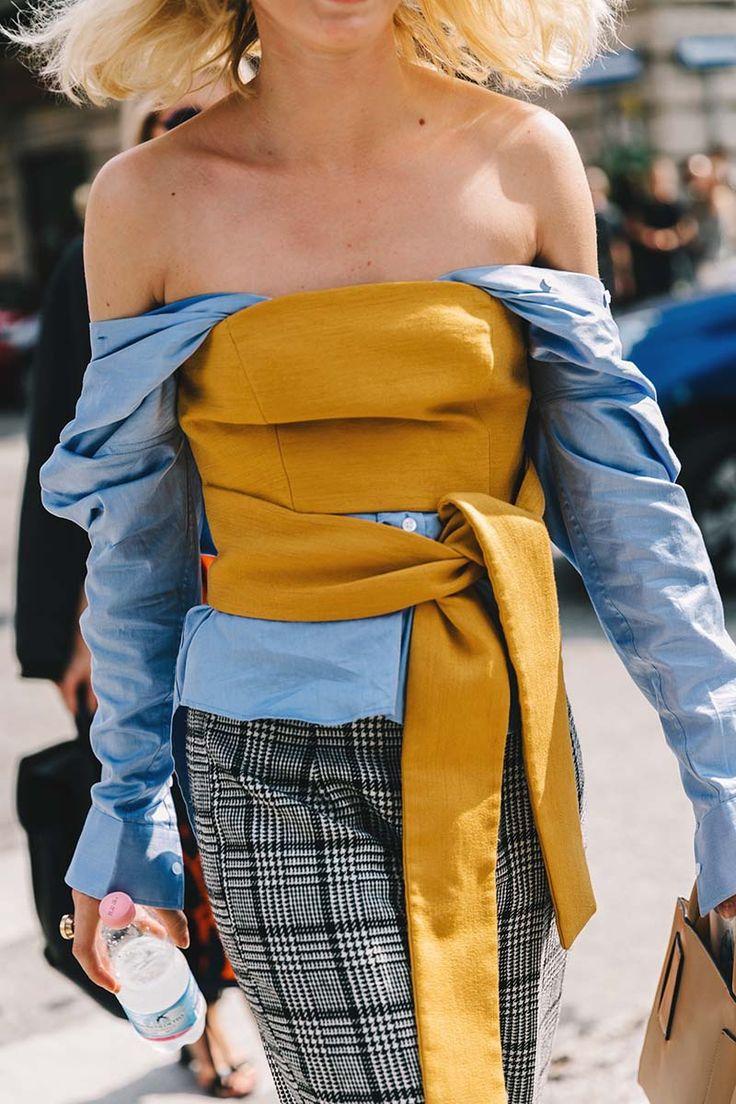 Dress shirt underneath tube top