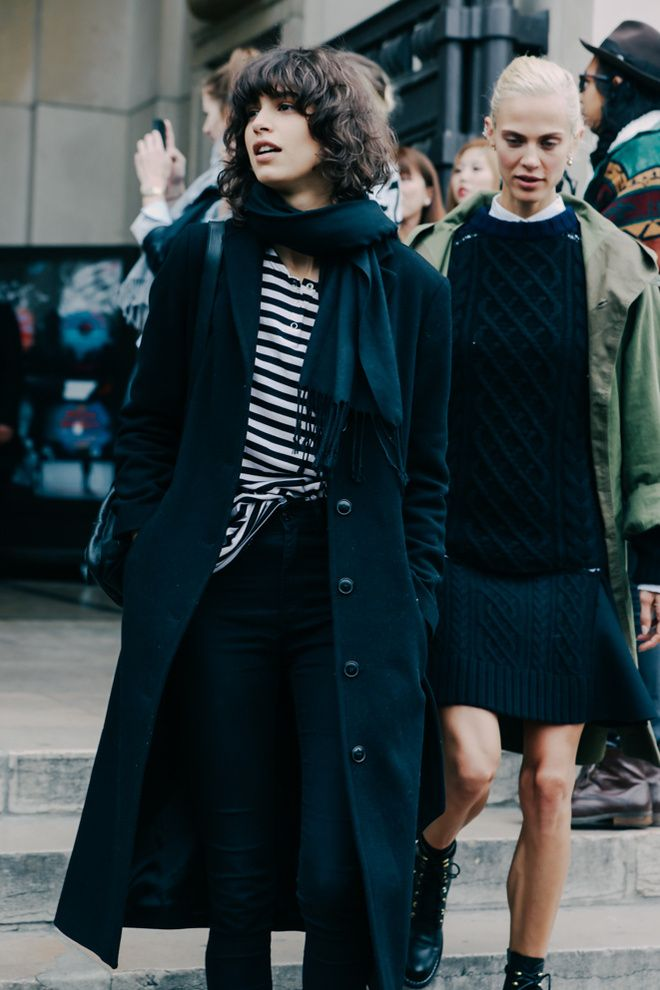 Mica Arganaraz in 'off duty' stripes at Paris Fashion Week | mode andmaison.wordpress.com