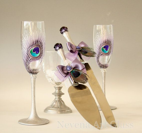#Wedding #Glasses and #Cake_Serer Set Hand Painted by NevenaArtGlass