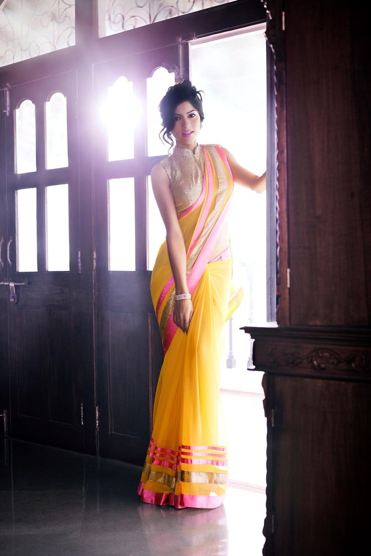 Bandhgala blouse and yellow saree from Jashn