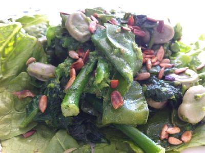 Groene salade van Romaine sla, spinazie, bimi, peultjes en... tuinboontjes