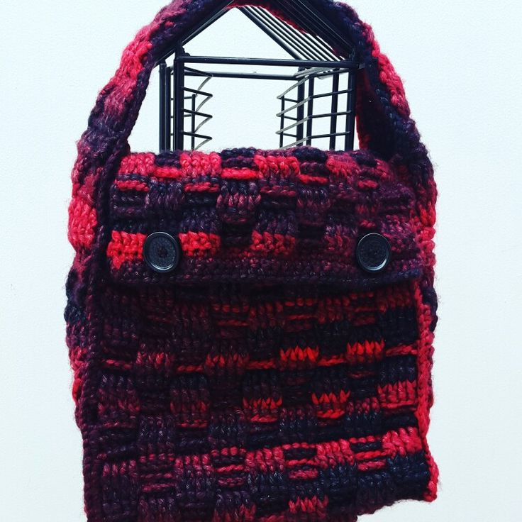 Basket weave stitch crochet bag