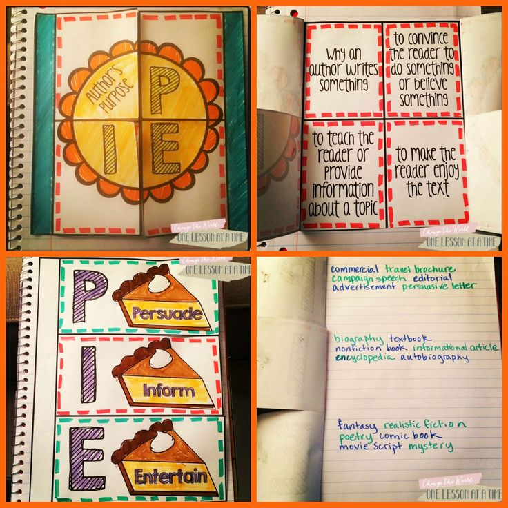 I like this Author's purpose foldable. (free on blog!) Gets right to the point and fits in a notebook.