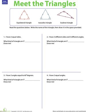 Third Grade Geometry Worksheets: Three Types of Triangles