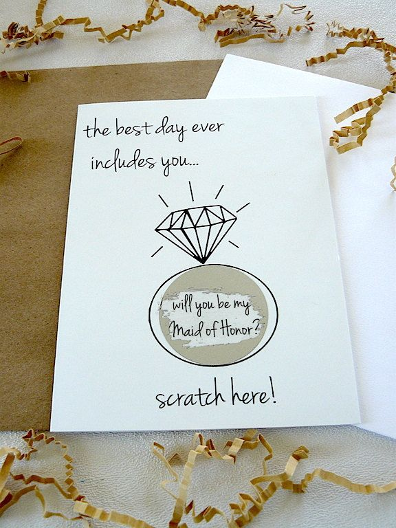 will you be my maid of honor? - scratch off card - black white - hipster modern wedding by janetmorrin on Etsy