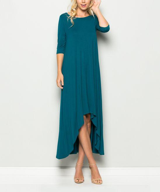 Coral Blue Hi-Low Maxi Dress